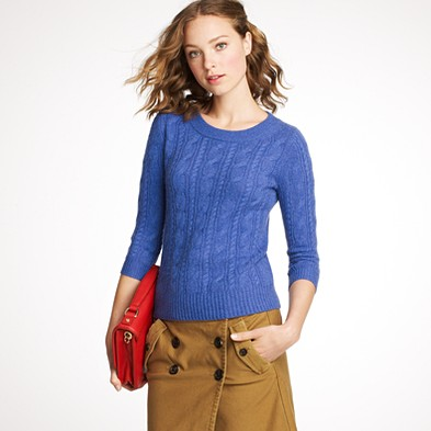 Cashmere cable sweater $228.00 item 46703 | Review JCrew