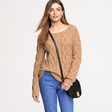 Italian camel cable sweater $325.00 item 48243 | Review JCrew