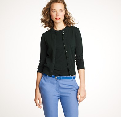 """0c36fe6f56 From JCrew  """"Our own style icon—wear it alone or pair it with the matching  shell as a classic twinset. It s better than ever in cotton blended with  stretch ..."""